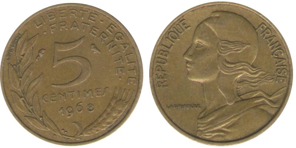 5 сантимов 1968 Франция