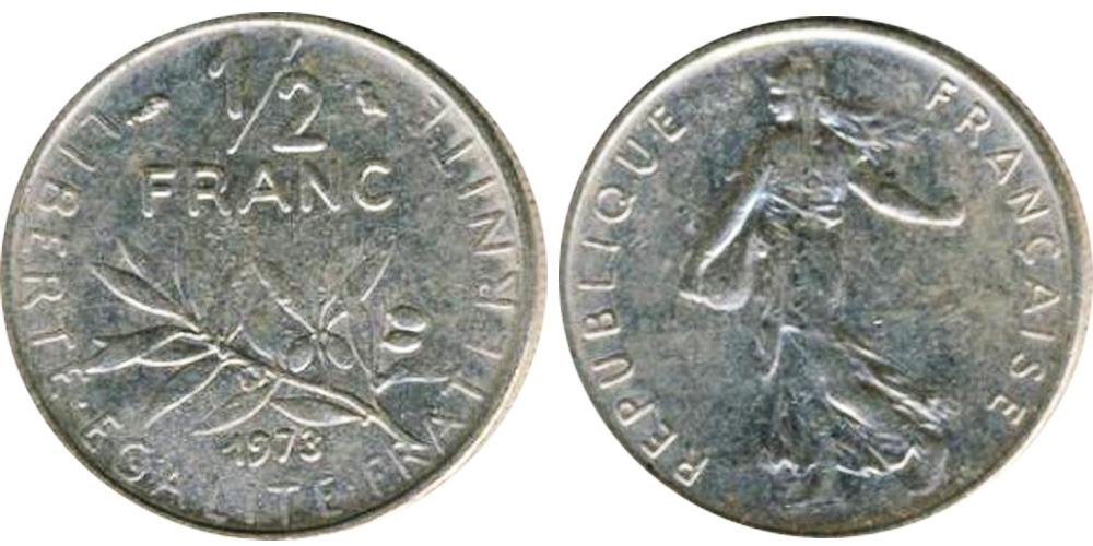 1/2 франка 1973 Франция