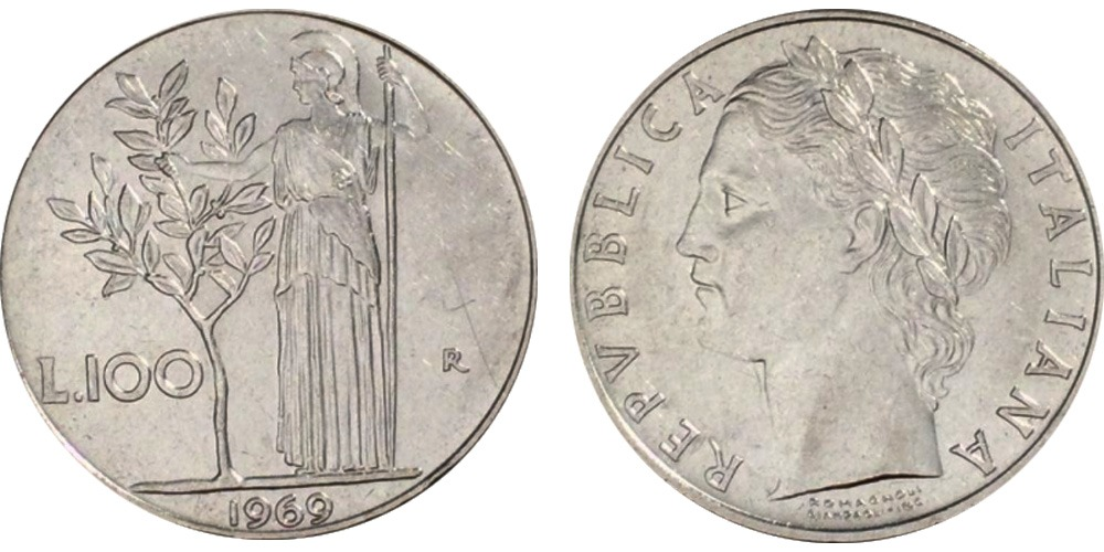 100 лир 1969 Италия