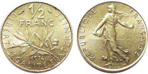 1/2 франка 1974 Франция