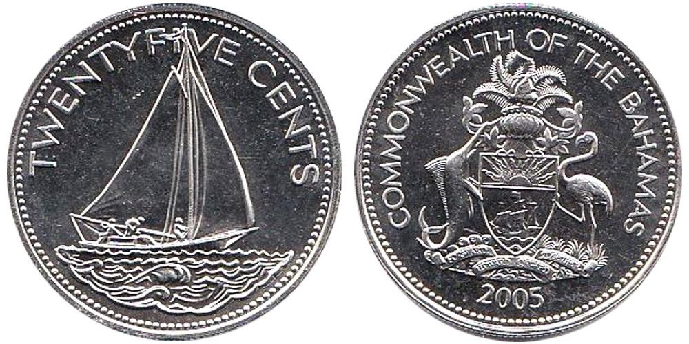 25 центов 2005 Багамские Острова UNC
