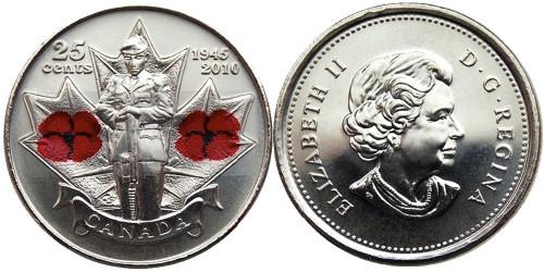 25 центов 2015 Канада — 65 лет победе во Второй Мировой войне UNC