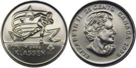 25 центов 2009 Канада — Синди Классен — шестикратный призёр Олимпийских игр