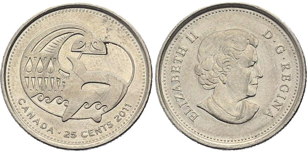 25 центов 2011 Канада — Природа Канады — Косатка