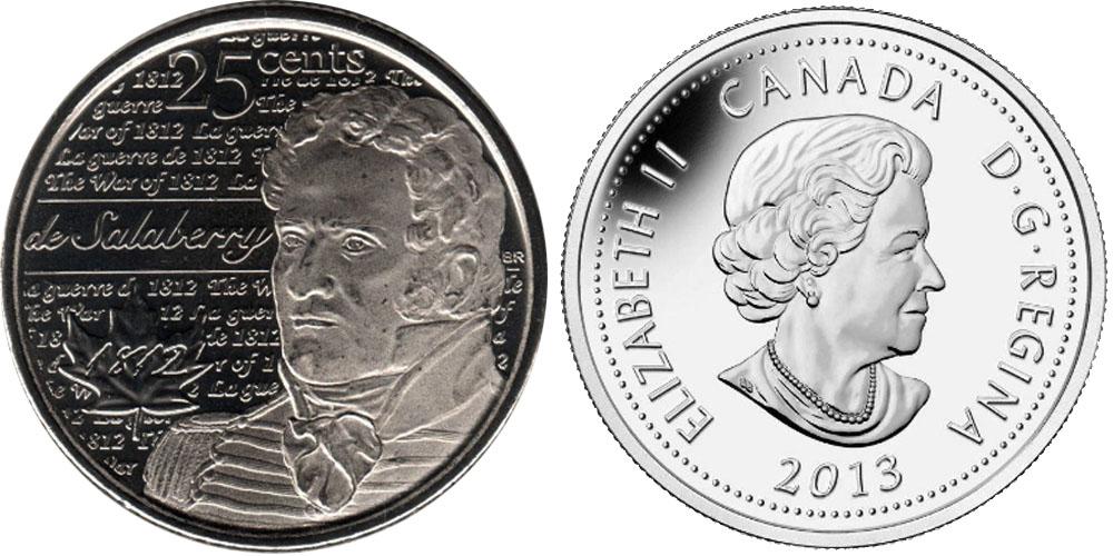 25 центов 2013 Канада — Война 1812 года — Шарль де Салаберри