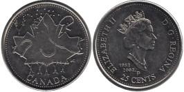 25 центов 2002 Канада — День Канады — Кленовый лист