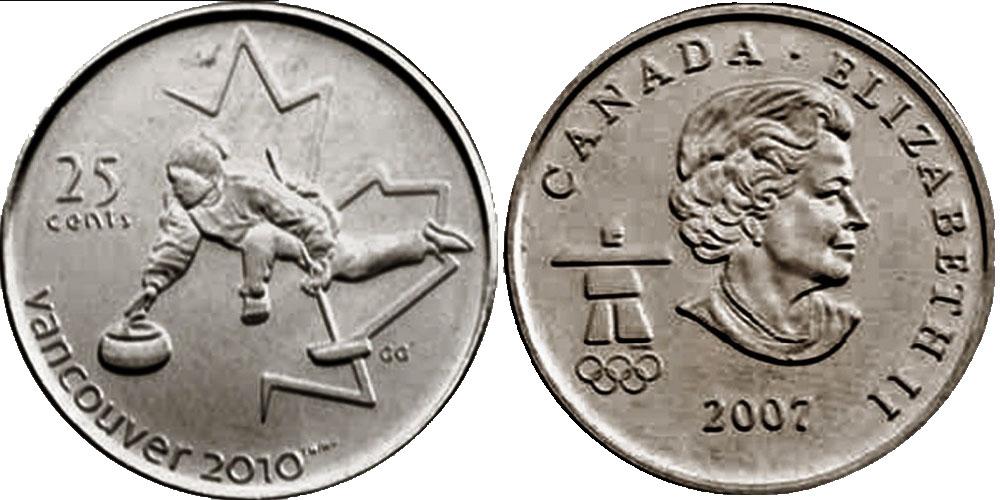 25 центов 2007 Канада — XXI зимние Олимпийские Игры, Ванкувер 2010 — Кёрлинг