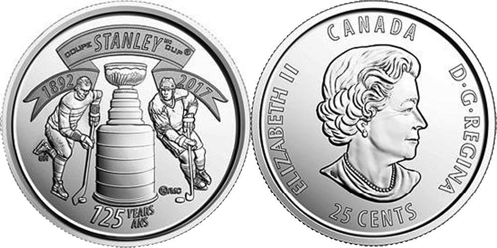 25 центов 2017 Канада — 125 лет Кубку Стенли UNC