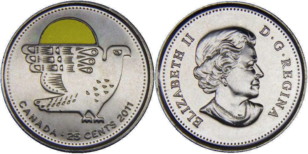 25 центов 2011 Канада — Природа Канады — Сапсан — эмаль