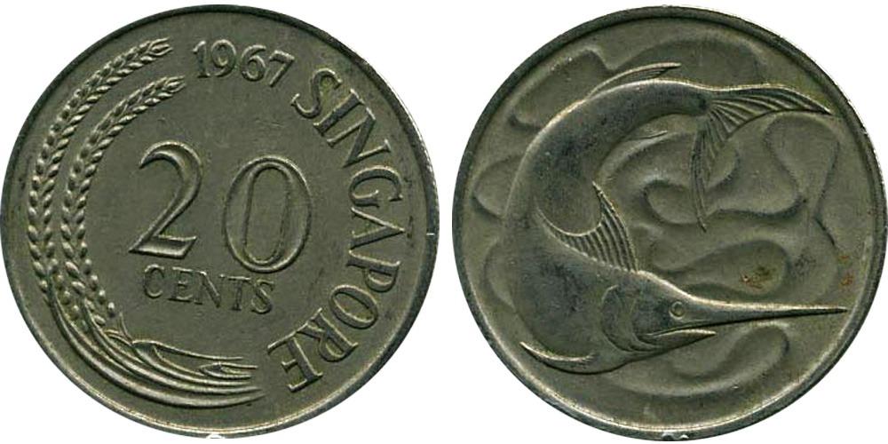 20 центов 1967 Сингапур — Рыба-меч (меченос)