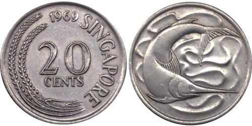 20 центов 1969 Сингапур — Рыба-меч (меченос)