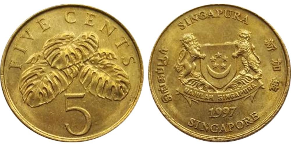 5 центов 1997 Сингапур