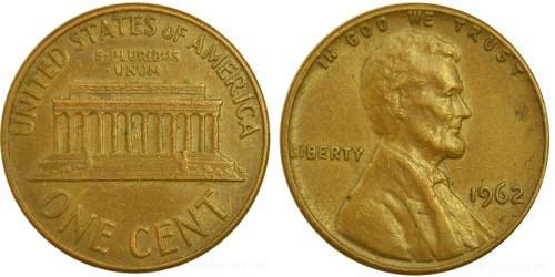 1 цент 1962 США