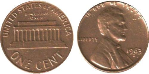 1 цент 1963 D США