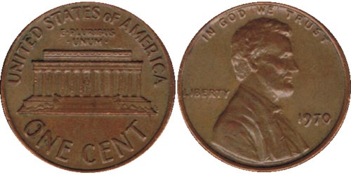 1 цент 1970 США