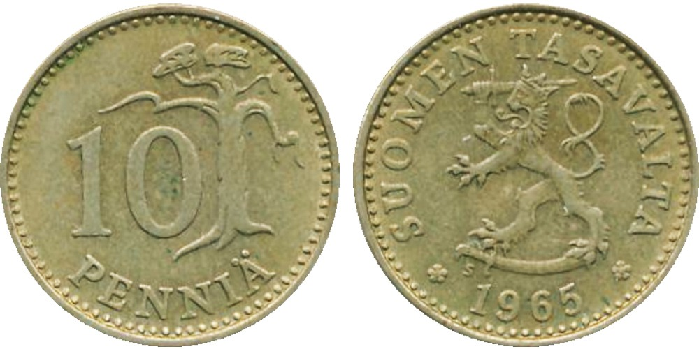 10 пенни 1965 Финляндия