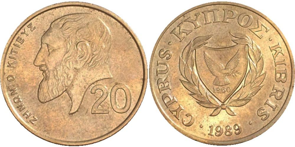 20 центов 1989 Республика Кипр