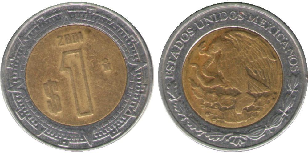 1 песо 2001 Мексика