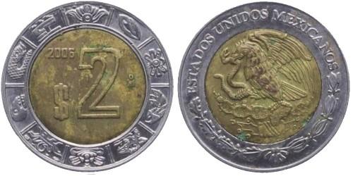 2 песо 2006 Мексика