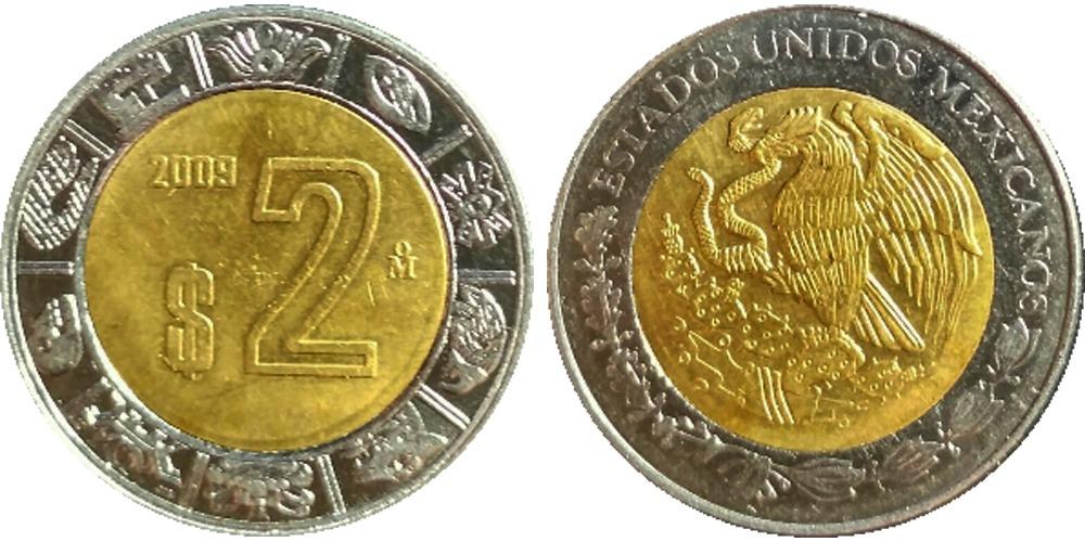 2 песо 2009 Мексика