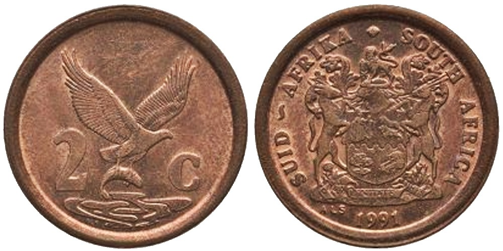 2 цента 1991 ЮАР