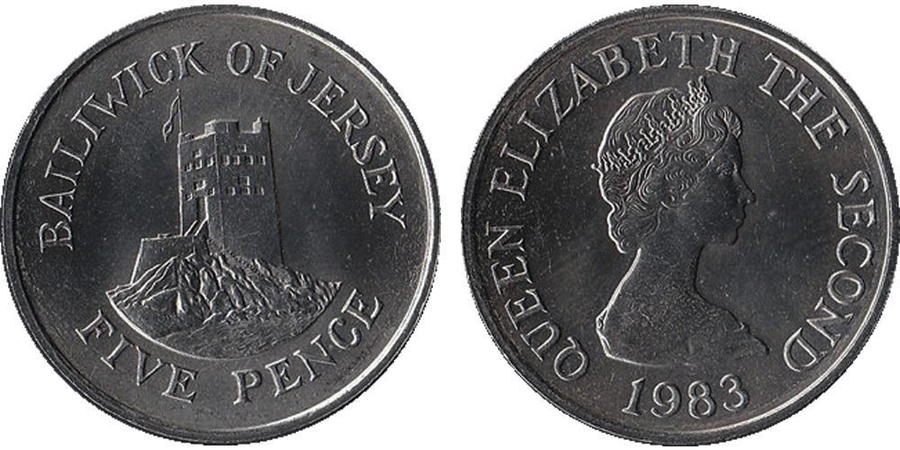 5 пенсов 1983 остров Джерси