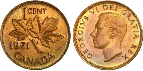 1 цент 1951 Канада