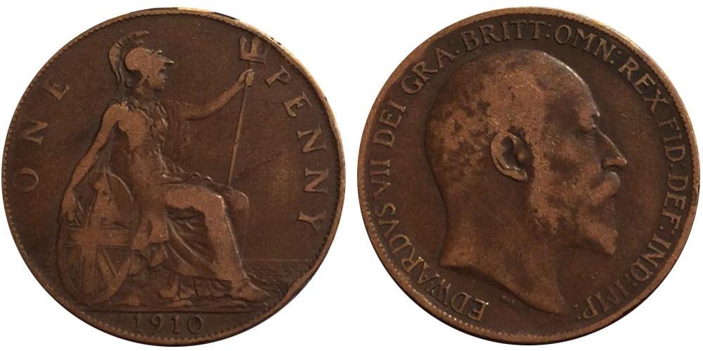 1 пенни 1910 Великобритания