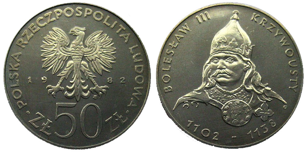 50 злотых 1982 Польша — Польские правители — Князь Болеслав III Кривоустый
