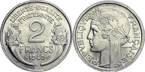 2 франка 1949 Франция — В