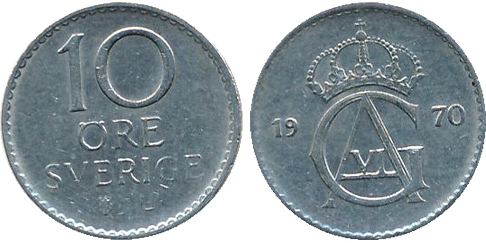 10 эре 1970 Швеция
