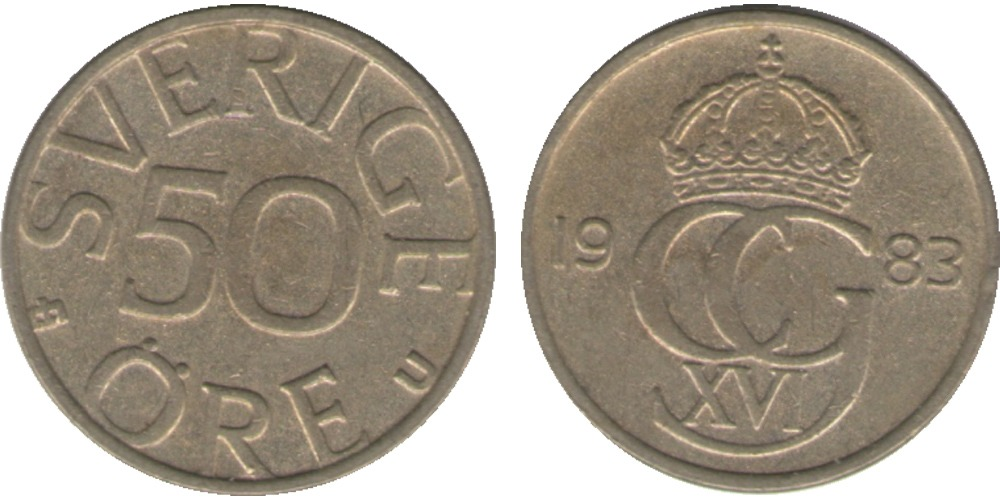 50 эре 1983 Швеция