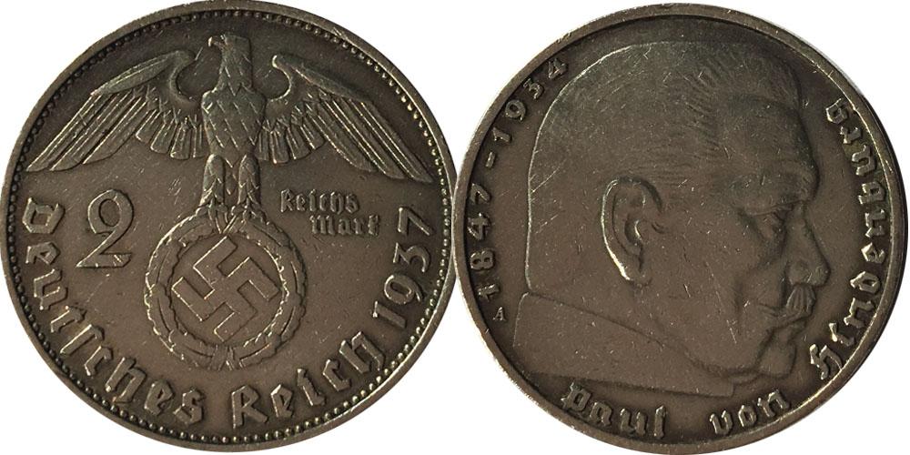2 рейхсмарки 1937 «А» Германия — серебро №5