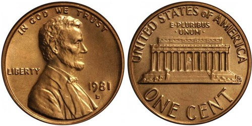 1 цент 1981 D США UNC