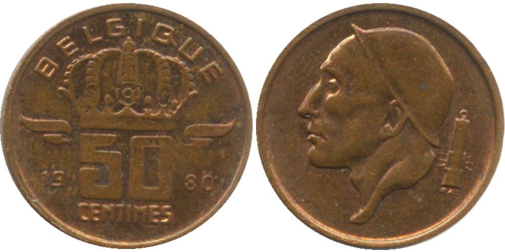 50 сантимов 1980 Бельгия (FR)
