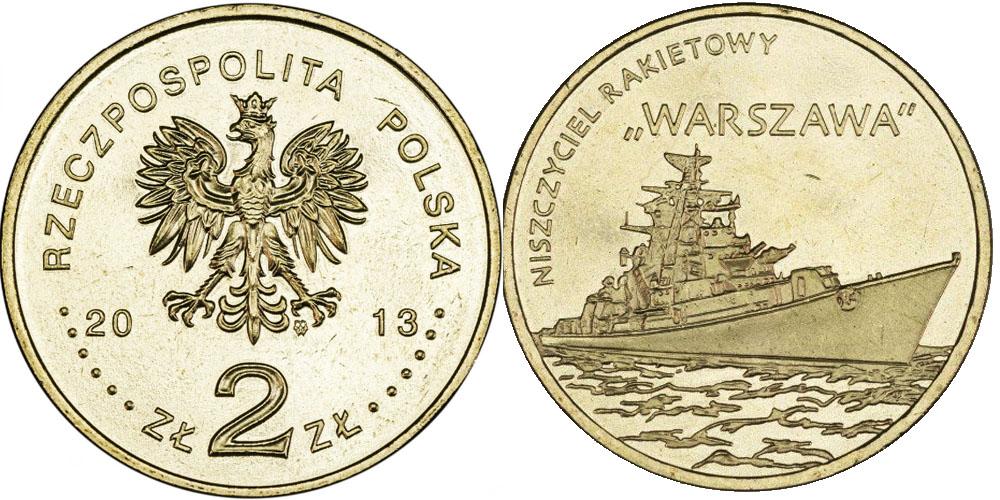 2 злотых 2013 Польша — Польские суда — Ракетный эсминец «Варшава»