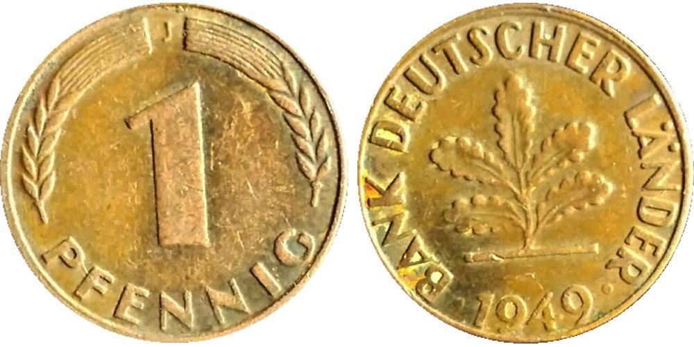 1 пфенниг 1949 «J» ФРГ