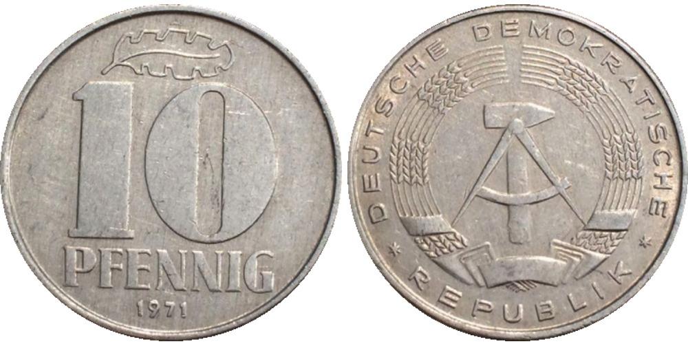 10 пфеннигов 1971 «A» ГДР