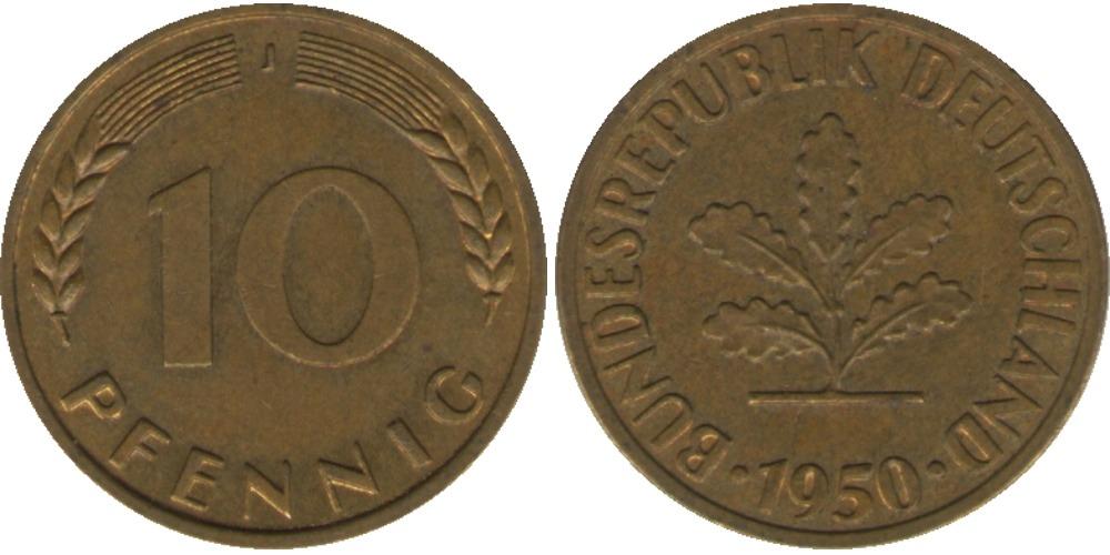 10 пфеннигов 1950 «J» ФРГ