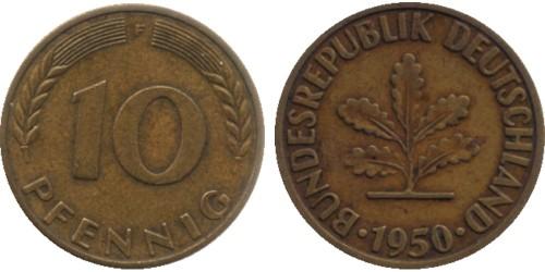 10 пфеннигов 1950 «F» ФРГ