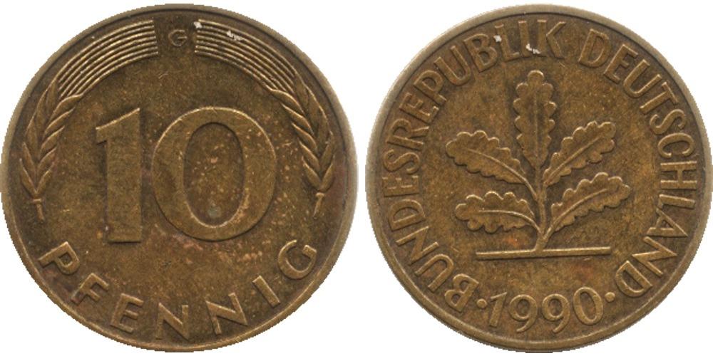 10 пфеннигов 1990 «G» ФРГ
