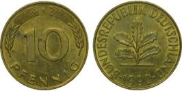 10 пфеннигов 1990 «F» ФРГ