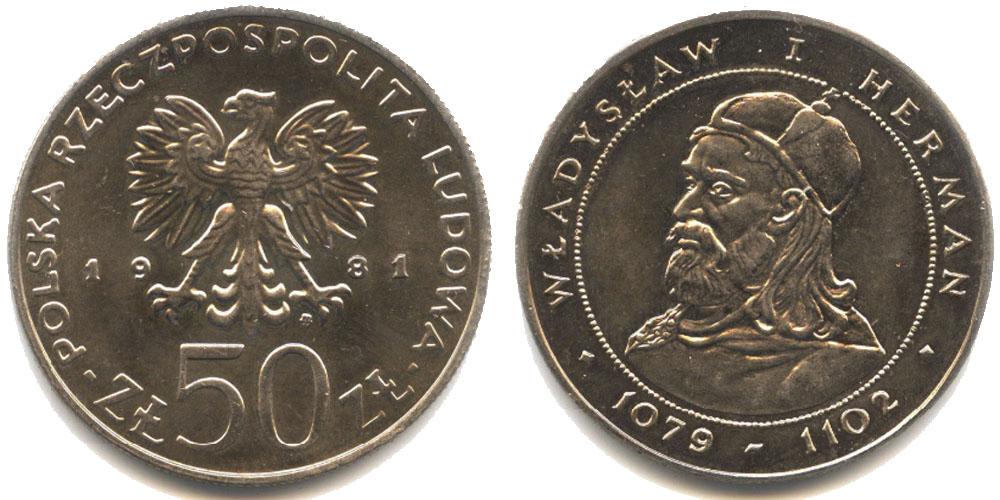 50 злотых 1981 Польша — Польские правители — Князь Владислав I Герман
