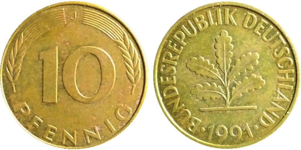 10 пфеннигов 1991 «J» ФРГ