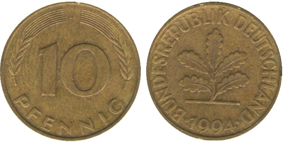10 пфеннигов 1994 «J» ФРГ