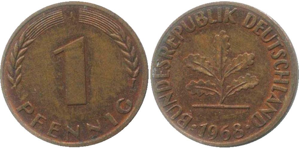 1 пфенниг 1968 «J» ФРГ