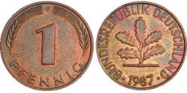 1 пфенниг 1987 «F» ФРГ