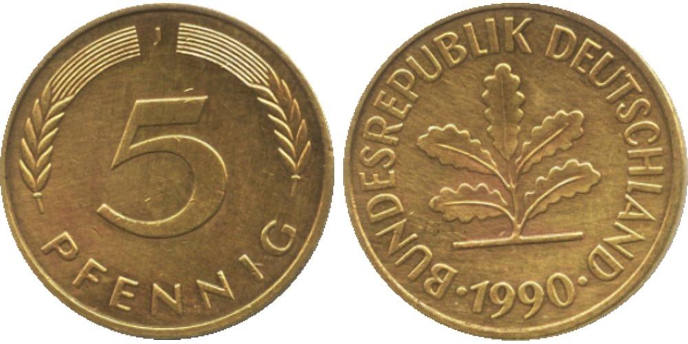 5 пфеннигов 1990 «J» ФРГ