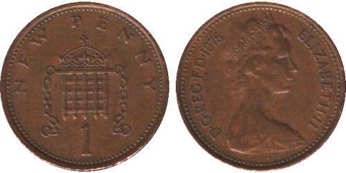 1 новый пенни 1975 Великобритания