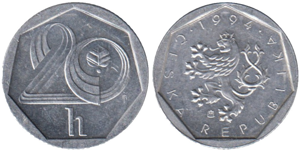 20 геллеров 1994 Чехия — монетный двор Гамбург